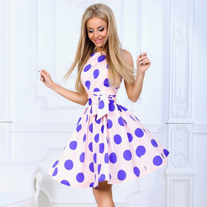 2018 Plus Size Women Sweet Dress Polka Dot Short Sleeve O Neckrricdress-rricdress