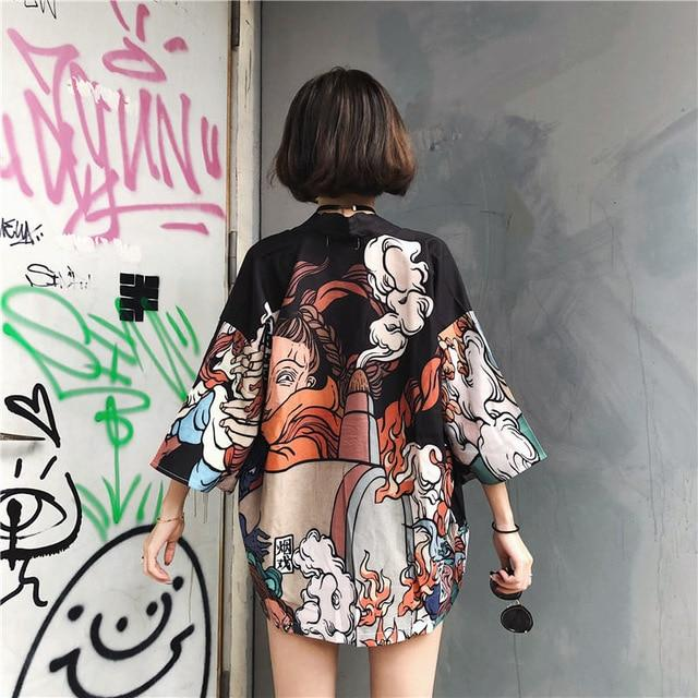 Harajuku BF Wind Japanese-style Feather Weaving Blouse Men and Women Kimono Chiffonrricdress-rricdress