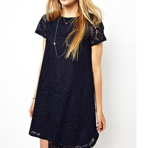 Fashion Summer Dress 2018 Women Casual Mini Dress Short Sleeve A-Line Hollowrricdress-rricdress