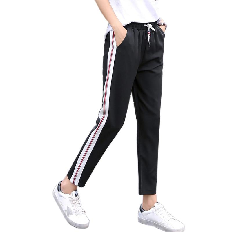 2017 New Arrival Side Striped Harem Pants Women Elastic High Waist Sweatpantsrricdress-rricdress