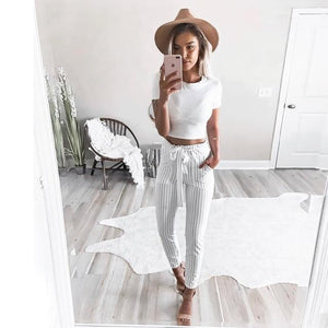 White&Blue Vertical Striped Skinny Pants Women Elastic Waist Pocket OL Style Workrricdress-rricdress