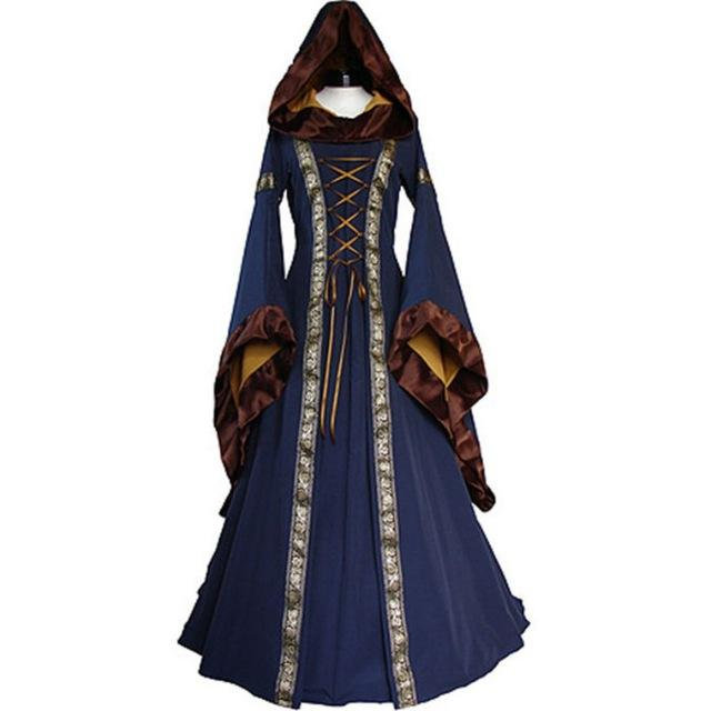 Women 2018 Fashion Long Sleeve Dress Medieval Renaissance Vintage Bandage Lady Peasantrricdress-rricdress