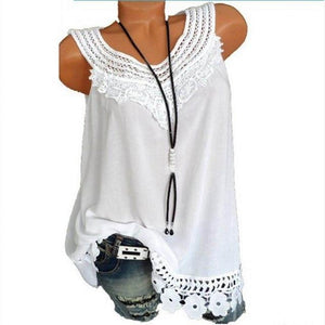 Plus Size Sleeveless Vintage Blouse Summer Lace Tops Women 2018 Shirt Patchworkrricdress-rricdress