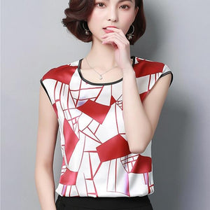 2018 Womens Tops and Blouses Short Sleeve Chiffon Blouse Summer Ladies Printrricdress-rricdress