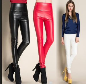 2018 Thicken Winter PU Leather women pants high waist elastic fleece stretchrricdress-rricdress