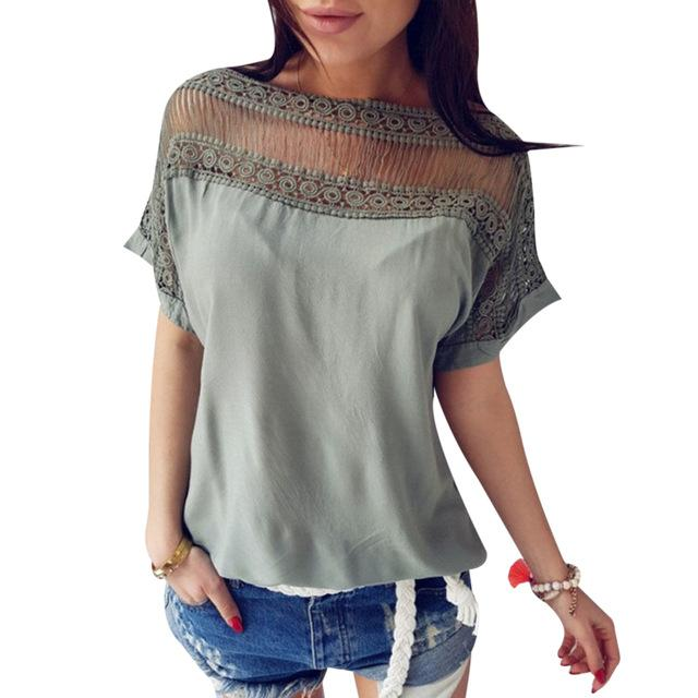 Hot New Women Summer Short Sleeve Blouse Tops 2018 Hollow Out Elegantrricdress-rricdress