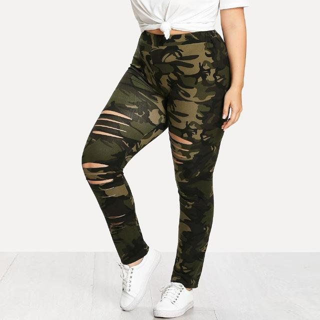 Fashion Plus Size Womens Camouflage Lady Holes Leggings Pants Leggings Trousers Holerricdress-rricdress