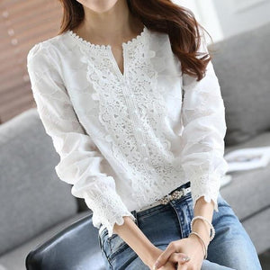 Women Chiffon Blouse Elegant Lace White Work Shirts Long Sleeve Solid Casualrricdress-rricdress