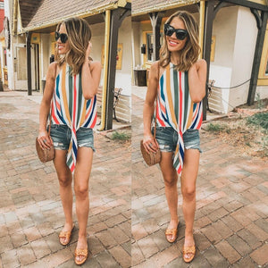 Women Vintage Rainbow Striped Blouse Colorful Sleeveless chiffin Blouse Shirt blouse shirtrricdress-rricdress
