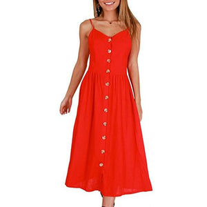 3XL Plus Size Dresses Vintage White Red Button Backless ...