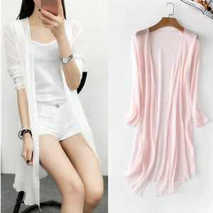 Summer Chiffon Blouse Pink Cardigan Sun Protection clothing Long Blouse Beachrricdress-rricdress