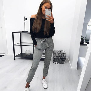 2018 new fashion women England plaid pants ladies casual trousers summerrricdress-rricdress