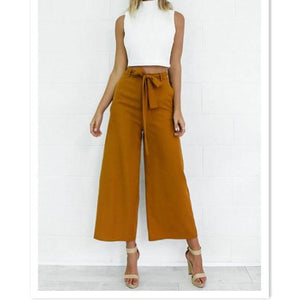 Fashion Womens Palazzo Pants Culottes Loose High Waist Wide Solid Leg Longrricdress-rricdress