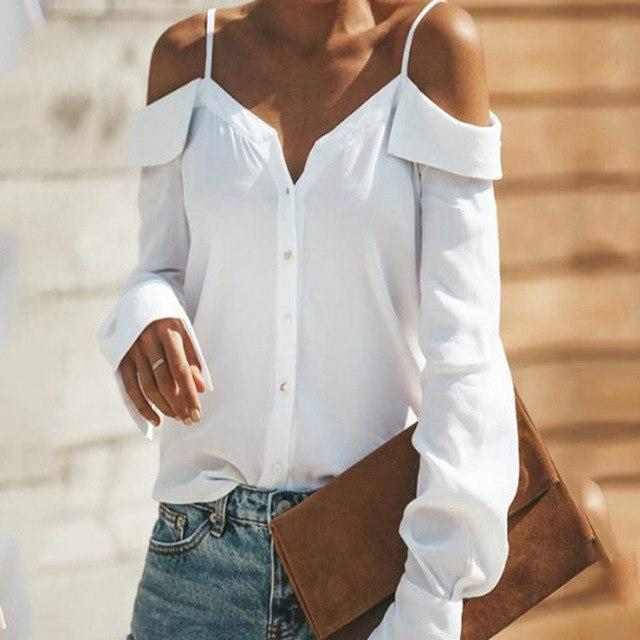Sexy Off Shoulders Sling Shirt Summer Fashion V Neck Long Sleeved Blousesrricdress-rricdress
