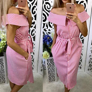 Women Off Shoulder Strapless Striped Dress Ladies Summer Sundresses Beach Casual Shirtrricdress-rricdress