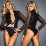 Black Pvc Mesh Long Sleeve Bodysuit Women Plus Size XXXL Leather Zipperrricdress-rricdress