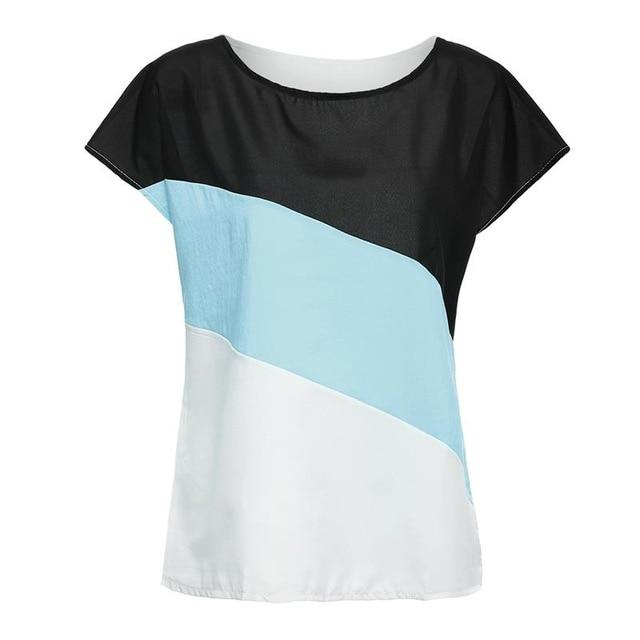 Fashion Hot New Women Summer Patchwork Tops Short Sleeve Casual Shirts Orricdress-rricdress