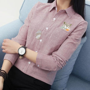 Fox Embroidery Long Sleeve Women Blouses And Shirts Red Grey Beigerricdress-rricdress