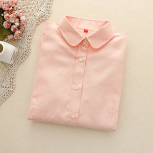 Women Blouses 2018 Long Sleeve Cotton Oxford Ladies Tops Office Longrricdress-rricdress