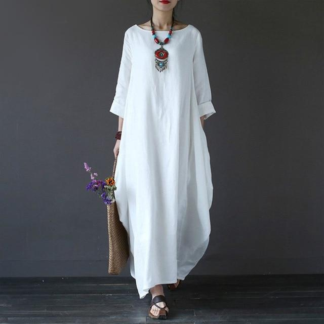 4XL 5XL Cotton Linen Summer Dress Plus Size Boho Loose White Longrricdress-rricdress