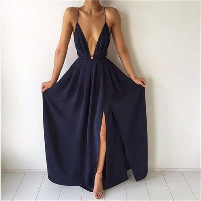 New Arrival Split Maxi Dress Dark Blue Solid Sexy Deep V Neckrricdress-rricdress