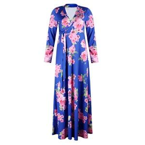 2018 Boho Sexy V Neck Women Robe Dress Half Sleeve Floral Printrricdress-rricdress