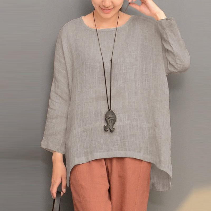 Autumn Summer Women Blouse Long Sleeve O Neck Split Irregular Hemrricdress-rricdress