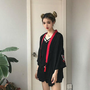 Japanese Kimono Summer Embroidery Women Harajuku Cardigan Loose Shirt Tops Casualrricdress-rricdress