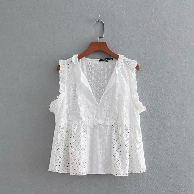 2018 women sweet sleeveless hollow out embroidery vest white smock shirt agaricrricdress-rricdress