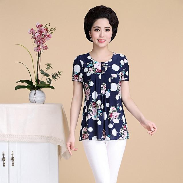 New Fashion Middle Age Women Short Sleeve Shirts Mother Tops Plusrricdress-rricdress