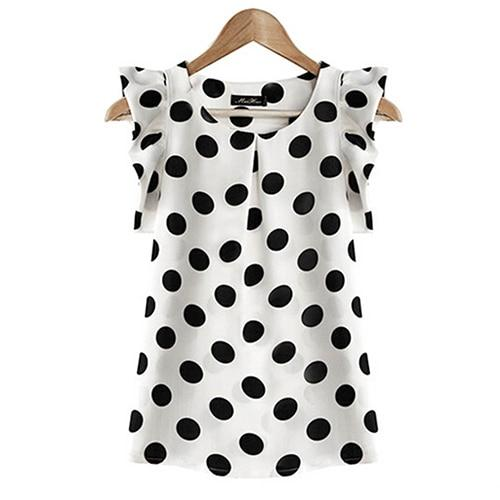 Women Summer Casual Polka Dot Round Neck Short Sleeve Shirt Top Chiffonrricdress-rricdress