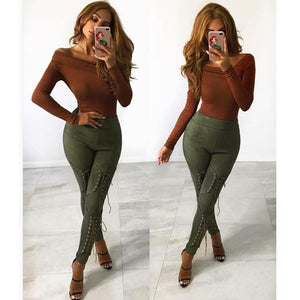 Suede Leather Pencil Pants leggings women Lace Up Cut Out Fashion Trousersrricdress-rricdress