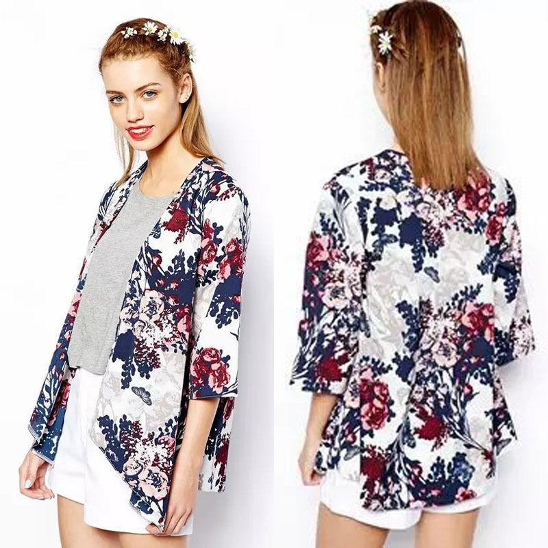 Fashion Women Print Floral Kimono Loose Long Sleeve Deep V-Neck Casual Chiffonrricdress-rricdress
