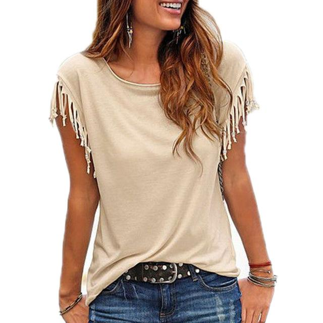 Summer Women Blouse Shirt Tassel Casual Blouses Short Sleeve Solid Color Shirtsrricdress-rricdress