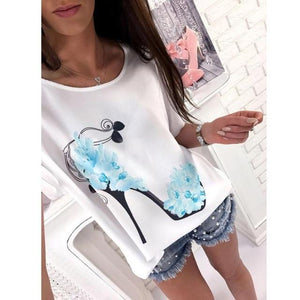 Women Short Sleeve High Heels Printed Tops Beach Casual Loose ruffledrricdress-rricdress