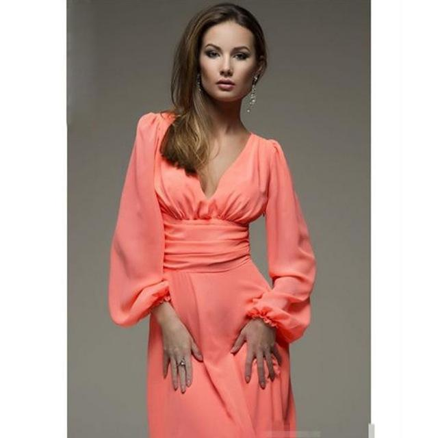Womens Sexy Deep V-neck Summer Long Sleeves Elegant Work Business Casual Partyrricdress-rricdress