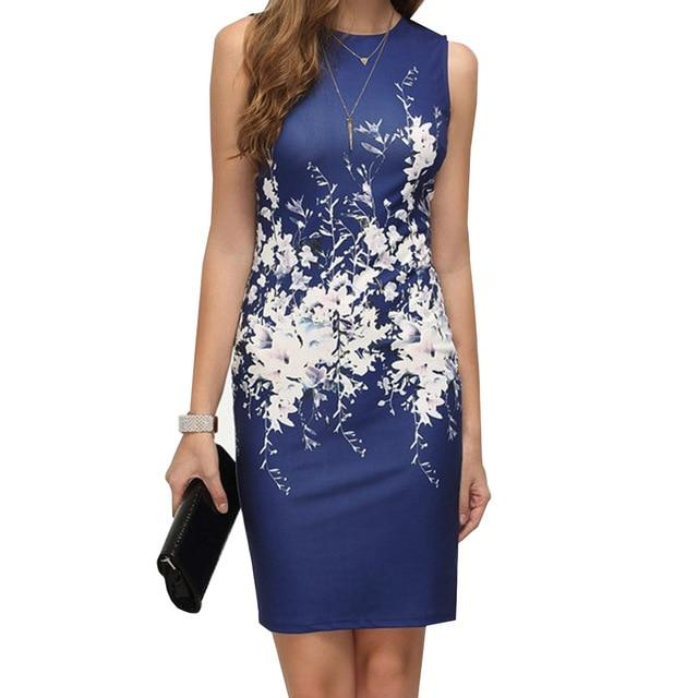 Fashion Sexy Lady Sleeveless O-Neck Slim Package hip printing Dress Club Partyrricdress-rricdress