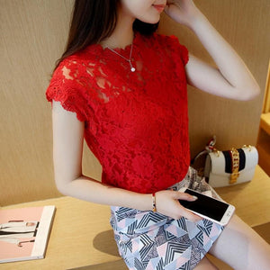 Lace Blouse Shirt Women Summer Style Blouses Sleeveless Solid Color Hollow Outrricdress-rricdress