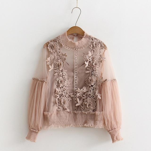 2018 Spring summer Japan Style Fashion Sexy Lace Blouse Women Lantern Sleeverricdress-rricdress