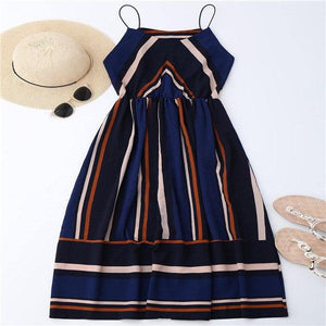 Hot Women Bohemian Dresses Striped Vintage Maxi Dress Female Sleeveless Summerrricdress-rricdress