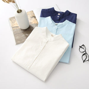 2018 Brand New Arrival Women's Shirt Casual Cotton Stand Collar Solidrricdress-rricdress