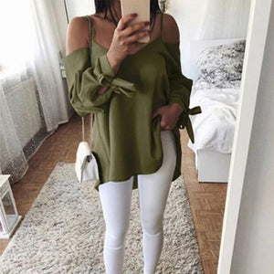 Long Sleeved V Neck Sling Shirts Womens Fashion Chiffon Blouses Casual Bowknotrricdress-rricdress
