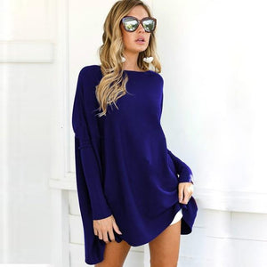 Autumn Women Long Sleeve Blouse Casual Solid O-Neck Loose Basic Shirts Batwingrricdress-rricdress