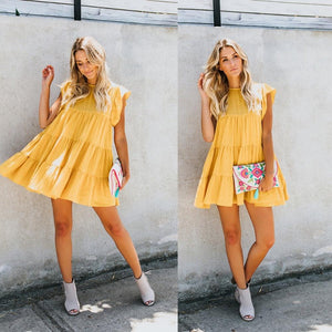 New women cotton dresses Preppy style Stright patchwork solid yellow dress elegantrricdress-rricdress