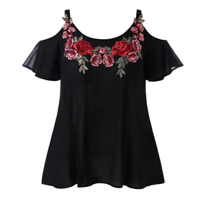 Plus Size Summer Womens Tops and Blouses 2018 Chiffon Appliques Cold Shoulderrricdress-rricdress