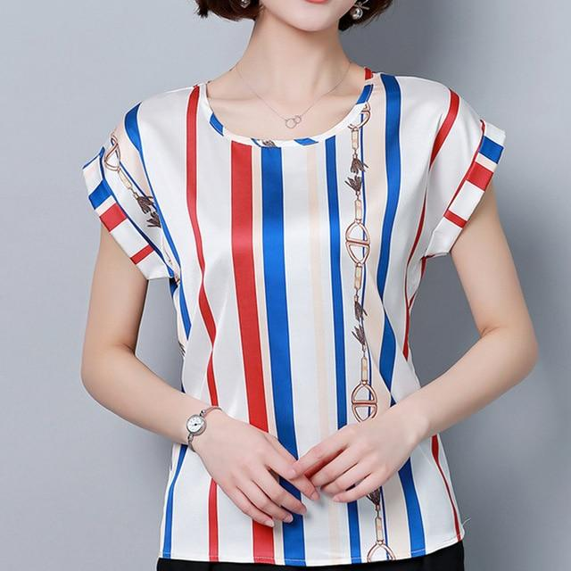 Womens Tops and Blouses Chiffon Blouse Summer Ladies Striped Shirts Shortrricdress-rricdress