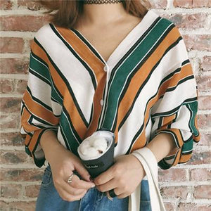 2018 summer fashion women casual V neck stripes print loose shirts Bohemiarricdress-rricdress