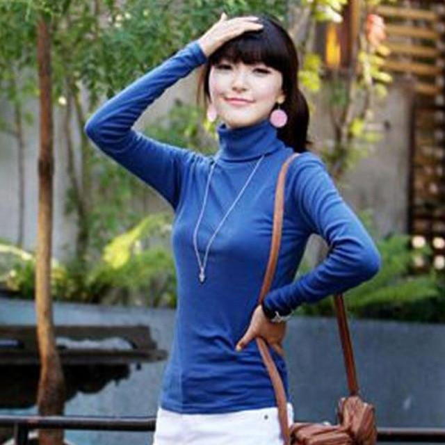 Blusas Femininas 2018 Fashion Women Clothing Blouses Shirts Solid High Collar Turtleneckrricdress-rricdress