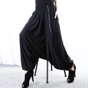 5XL ZANZEA Women Baggy Solid Drop-Crotch Zip Black Gothic Wide Leg Pantsrricdress-rricdress