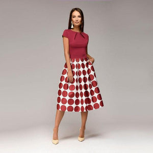 Vintage Dot Print Summer Casual Dress Women Fit and Flare Party Dressrricdress-rricdress